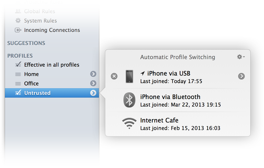 Automatic Profile Switching Popover