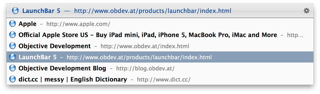 LaunchBar SafariTabs Action Screenshot