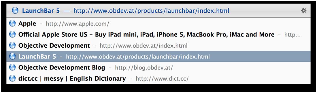 LaunchBar SafariTabs Action Screenshot
